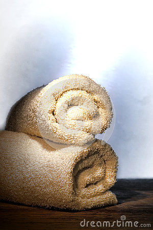 Soft Cotton Bath Towels in a Spa with Sauna Steam