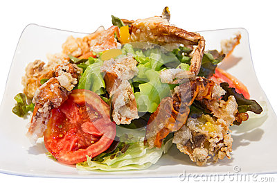 Soft crab fried salad