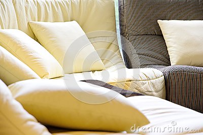 Soft cushion in sofa