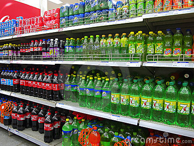 Soft Drinks And Beverages In Supermarket Editorial Stock Photo