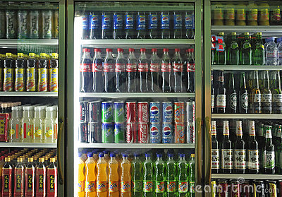Soft Drinks And Beverages In Supermarket Editorial Stock Image