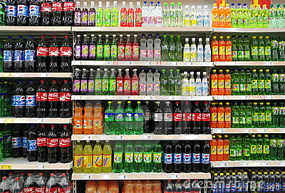Soft Drinks And Beverages In Supermarket Editorial Photography