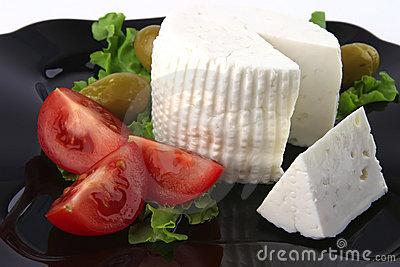 Soft feta cheese with tomatoes