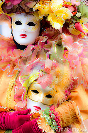 Soft focus picture of venetian carnival mask.