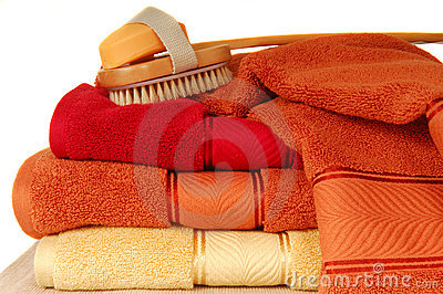 Soft luxurious towels with soap and brush