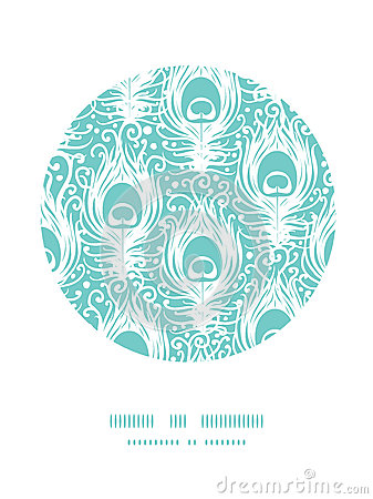 Soft peacock feathers vector circle decor pattern
