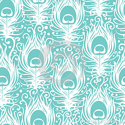 Free Soft Peacock Feathers Vector Seamless Pattern Stock Photo - 32645660