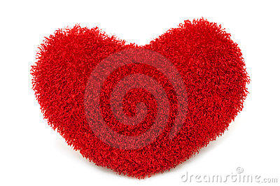 Soft red heart pillow