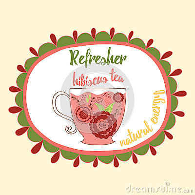 Free Soft Refresh Drink Illustration. Fresh Hibiscus Red Tea With Flowers Made In Doodle Style Into Round Frame With Text. Stock Image - 67595361