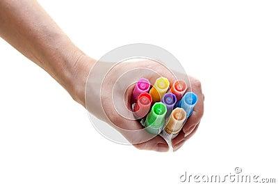Soft-tip pens in feminine hand