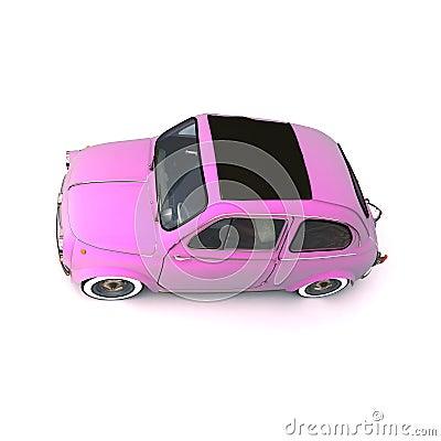Soft top pink retro car