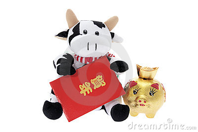 Soft Toy Cow with Chinese New Year Decorations