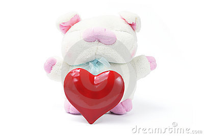 Soft Toy Pig with Love Heart