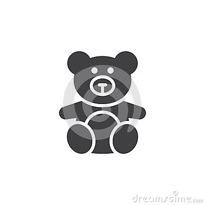 Soft toy, Teddy bear icon vector, filled flat sign, solid pictog Vector Illustration