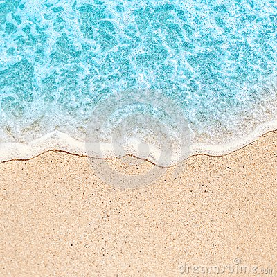 Free Soft Wave Of Blue Ocean On Sandy Beach With Copy Space Fr Text. Stock Image - 115985051