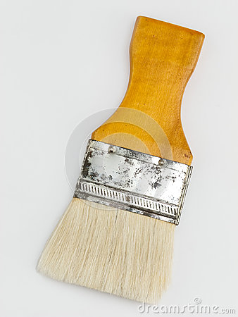 Soft white bristle paint brush