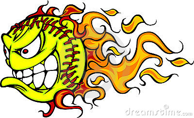Softball Fastpitch Ball Flaming Face Vector Image