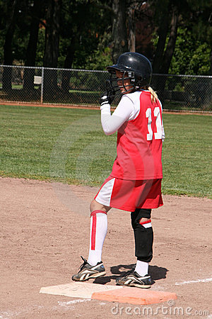 Softball player on base