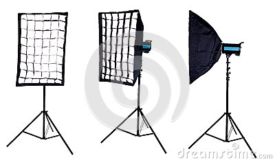Softbox mounted on studio flash. Isolated