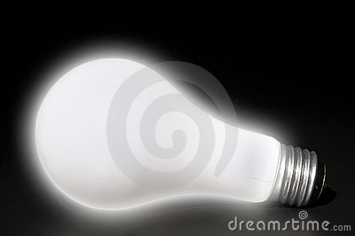 Softly glowing light bulb