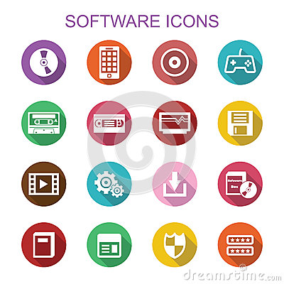 Software long shadow icons Vector image software