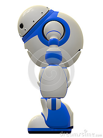 Software Security Robot Standing Side View