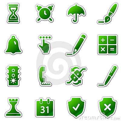 Software web icons, green sticker series