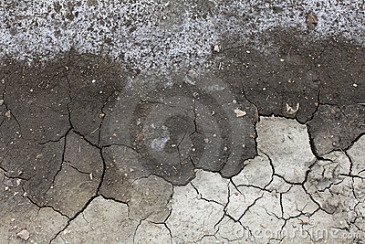 Soil salinity degradation, cracked ground
