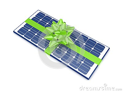Solar battery decorated with a green ribbon.