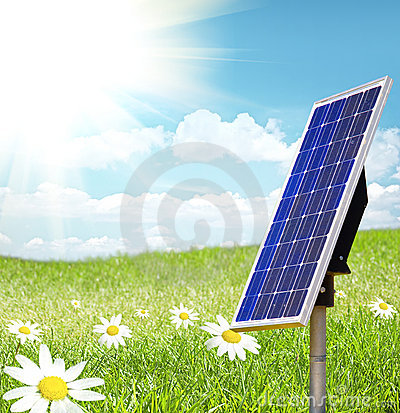 Free Solar Cell And Sunray Royalty Free Stock Image - 9546786