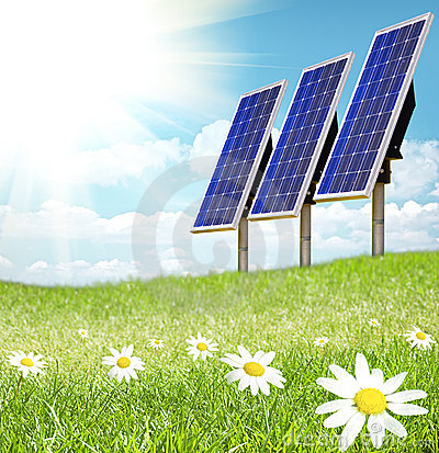 Free Solar Cell And Sunray Royalty Free Stock Images - 9546809