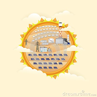 Free Solar Cell Power Plant And Solar Thermal Power Plant Royalty Free Stock Images - 112379859