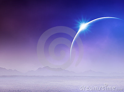 Solar eclipse over seascape