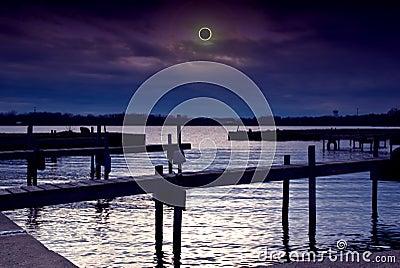 Solar eclipse scene