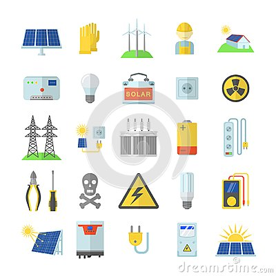 Free Solar Energy Equipment Icons Set, Flat Style Stock Photography - 111003292