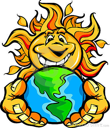 Solar Energy Happy Sun Cartoon holding Earth