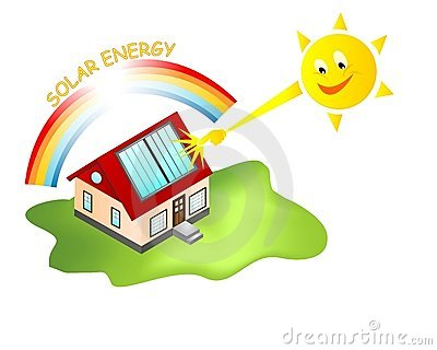 House with solar panels and sun sending rays, vector format.