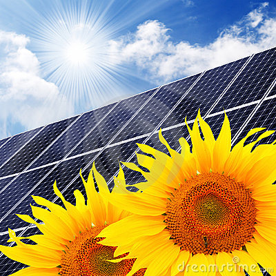 Free Solar Energy Panel And Sunflowers. Royalty Free Stock Photography - 20412947