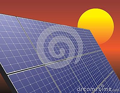 Solar energy panel over sunrise sky