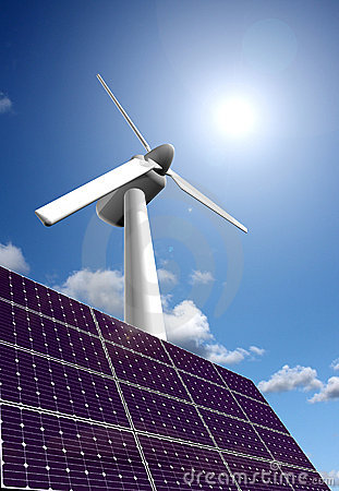 Solar energy panel and wind power plant