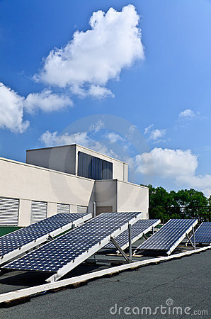 Solar energy panels on rooftop