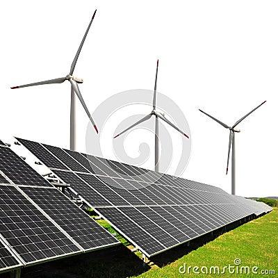 Solar energy panels with wind turbines