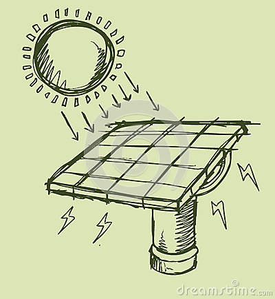 Solar Energy Sketch Vector illustration