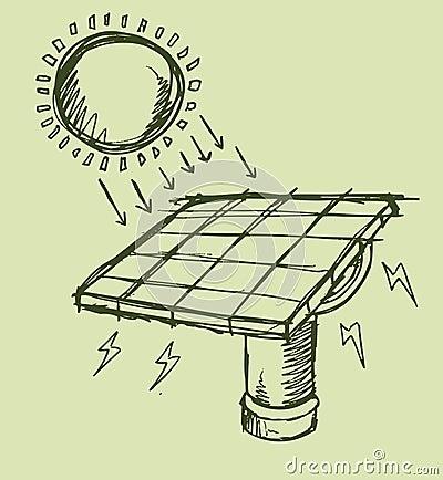 Solar Energy Sketch Vector illustration