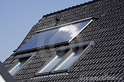 Solar heating panel on roof