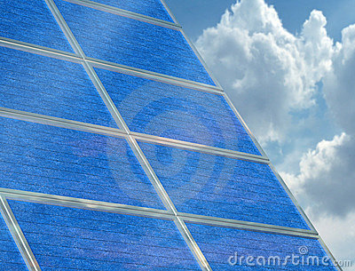 Solar panel array on a cloudy day