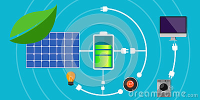 Solar panel battery pack home green electricity Vector Illustration