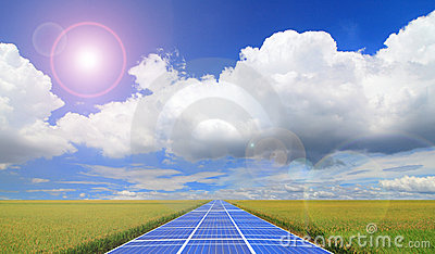 Solar Panel with blue sky and grass