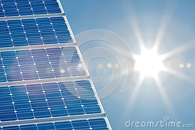 Solar panel with a bright sun on the right side