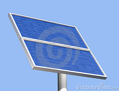 Solar panel on a clear summer day